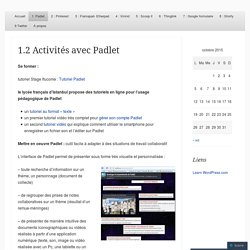 1.2 Activités avec Padlet