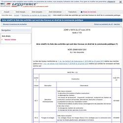 Avis relatif à la liste des activités qui sont des travaux en droit de la commande publique