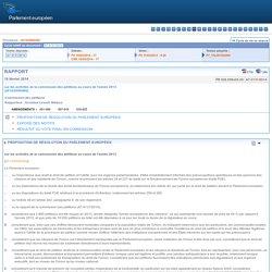 PARLEMENT EUROPEEN 19/02/14 PROPOSITION DE RÉSOLUTION DU PARLEMENT EUROPÉEN sur les activités de la commission des pétitions au cours de l'année 2013
