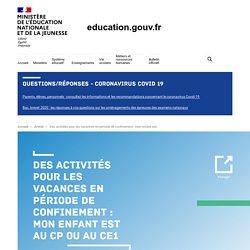 Activités pour les vacances (CP/CE1)
