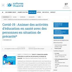 Covid-19 : Animer des activités d'éducation en santé avec des personnes en situation de précarité*