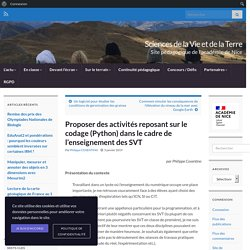 Proposer des activités reposant sur le codage (Python) dans le cadre de l'enseignement des SVT – Sciences de la Vie et de la Terre