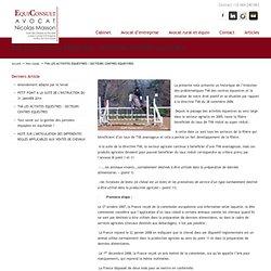 TVA LES ACTIVITES EQUESTRES : SECTEURS CENTRES EQUESTRES « Avocat Equin