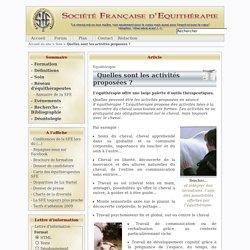 Quelles sont les activités proposées ? - Société Française d'Equithérapie - SFE