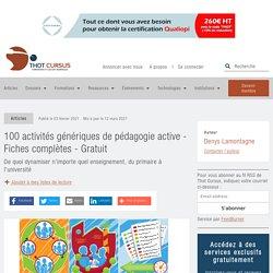100 activités génériques de pédagogie active - Fiches complètes - Gratuit