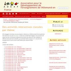 Des activités interactives classées par thème - ADEAF
