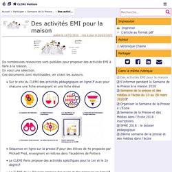 Des activités EMI pour la maison - CLEMI Poitiers
