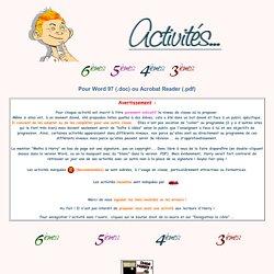Activités mathématiques pour Word 97 et Acrobat Reader