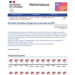Activités mentales Limoges de la seconde au BTS - Mathématiques
