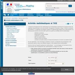 Activité mathématique, Logiciels Mathématiques, Enseigner les Mathématiques avec les TICE - Éducnet