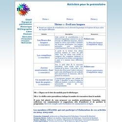 Activités - Préscolaire - Éveil aux langues
