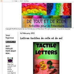 Activités pour le Préscolaire: Lettres tactiles de colle et de sel