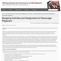 Designing Activities and Assignments to Discourage Plagiarism