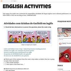 English Activities : Atividades com tirinhas do Garfield em inglês