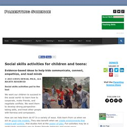 Social skills activities for children and teenagers