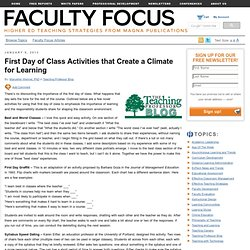 First Day of Class Activities that Create a Climate for Learning