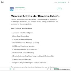 Music and Activities for Dementia Patients — companionradio