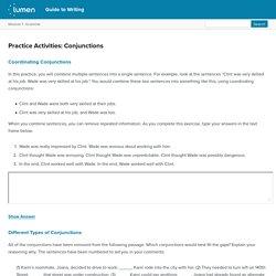 Practice Activities: Conjunctions