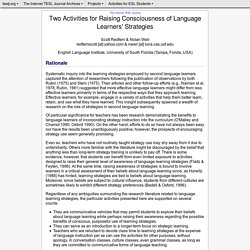Redfern - Two Activities for Raising Consciousness of Language Learners' Strategies