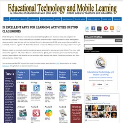 15 Excellent Apps for Learning Activities in BYOD Classrooms