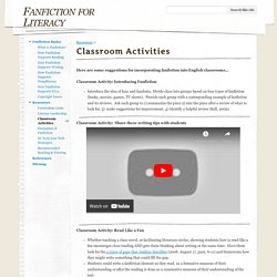 Classroom Activities - Fanfiction for Literacy