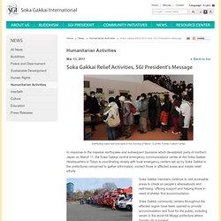 Activités Soka Gakkai de secours, Message du président de SGI | Nouvelles