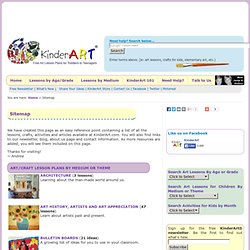 Sitemap for KinderArt ® Art Lesson Plans, Lessons, Projects, Activities and Ideas for Children of All Ages (Kindergarten to Grade Twelve)