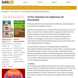 10 Fun Activities For Adjectives Of Personality