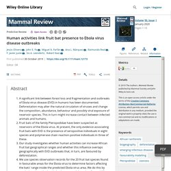 MAMMAL REVIEW 30/10/19 Human activities link fruit bat presence to Ebola virus disease outbreaks