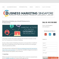 Marketing Activities you should Outsource to Professionals