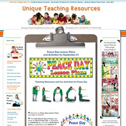 Peace Day Lesson Plans: Activities, Ideas, and Group Project to use for September 21