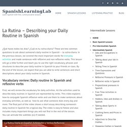 Daily routine in Spanish: common activities and reflexive pronouns