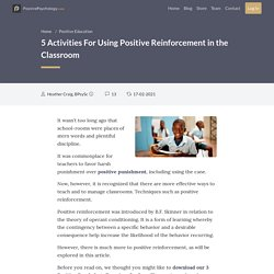 5 Activities For Using Positive Reinforcement in the Classroom
