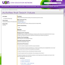 Activities that Teach Values