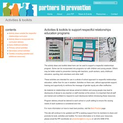 Activities & toolkits - Partners in Prevention
