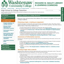 For Teachers: Activities and Lesson Plans - High School to College Transition - Research Guides at Washtenaw Community College