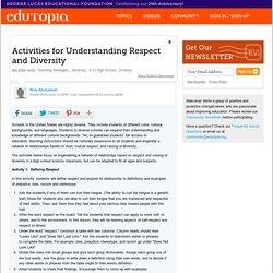 Activities for Understanding Respect and Diversity