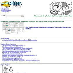 Pilgrims Activities, Worksheets, Printables, and Lesson Plans