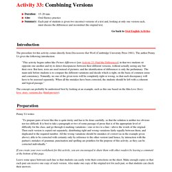 Activity 33: Combining Versions