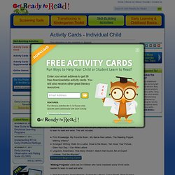 Activity Cards - Individual Child