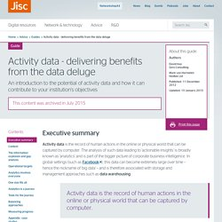 tivity data - delivering benefits from the data deluge