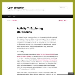 Activity 7: Exploring OER issues