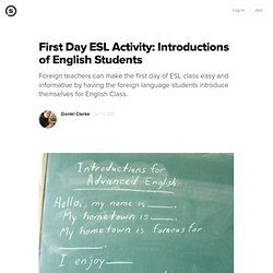 First Day ESL Activity: Introductions of English Students