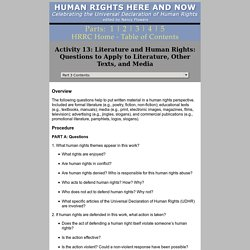 Activity 13: Literature and Human Rights