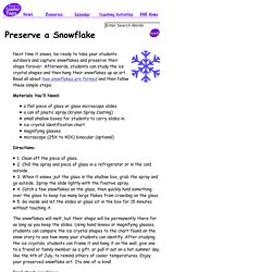 Teacher Pages - Activity: Preserve a Snowflake Forever