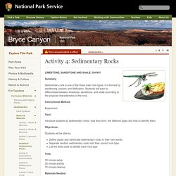 Activity 4: Sedimentary Rocks - Bryce Canyon National Park