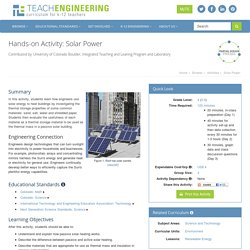 Solar Power - Activity - www.TeachEngineering.org