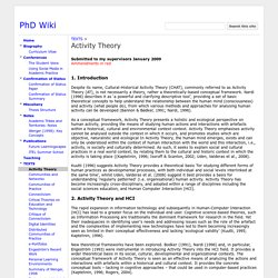 Activity Theory - PhD Wiki