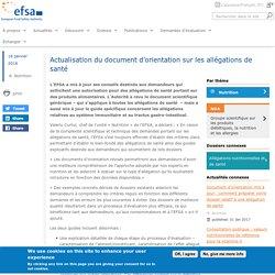 EFSA 18/01/17 Actualisation du document d'orientation sur les allégations de santé