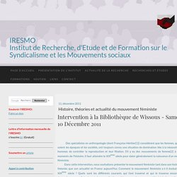 Histoire, théories et actualité du mouvement féministe - IRESMO- Recherche et formation sur les mouvements sociaux